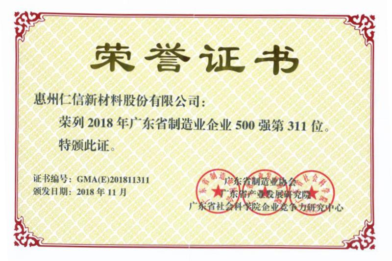 2018年廣東省制造業企業500強
